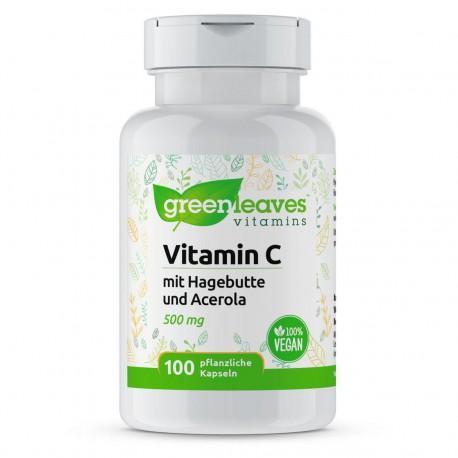 Vitamin C 500 mg - Hagenbutte-Acerola 100 Kapseln